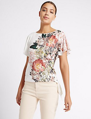 Side Tie Subtle Beaded Short Sleeve T-Shirt, IVORY MIX, catlanding