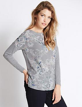 Hydrangea Print Jersey Top, GREY MIX, catlanding