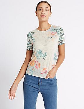 Printed Round Neck Short Sleeve T-Shirt, MULTI, catlanding
