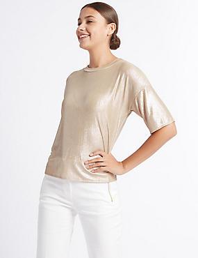 Metallic Foil Half Sleeve T-Shirt, GOLD, catlanding