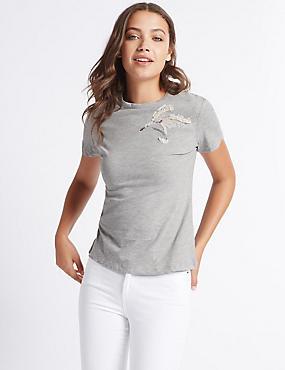 Cotton Rich Sequin Wings T-Shirt, GREY MIX, catlanding