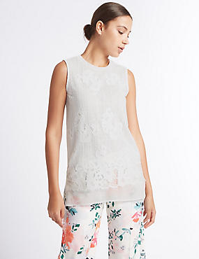 Lace Layer Round Neck Sleeveless Tunic , IVORY, catlanding