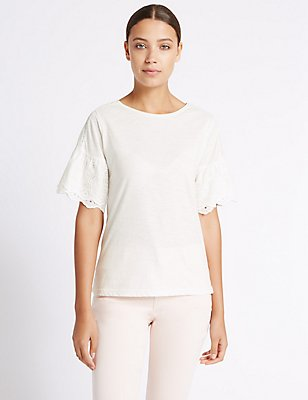 Pure Cotton Broderie Sleeve T-Shirt, IVORY, catlanding