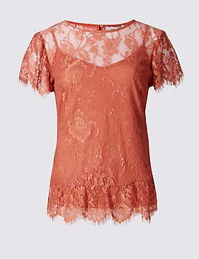Lace Round Neck Ruffle Sleeve T-Shirt, IVORY, catlanding