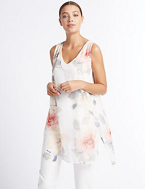 Floral Print V-Neck Sleeveless Tunic, IVORY MIX, catlanding