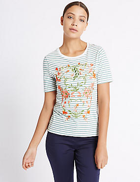 Cotton Rich Floral Embroidered T-Shirt, IVORY MIX, catlanding