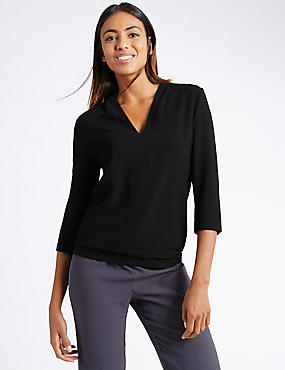 3/4 Sleeve Ribbed Hem V-Neck Jersey Top, BLACK, catlanding