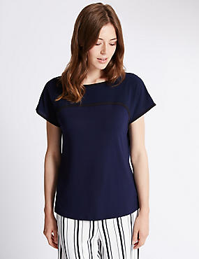 Contrasting Edge Short Sleeve Jersey Top, , catlanding