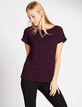 Short Sleeve Tipped Jersey Top, BURGUNDY MIX, catlanding