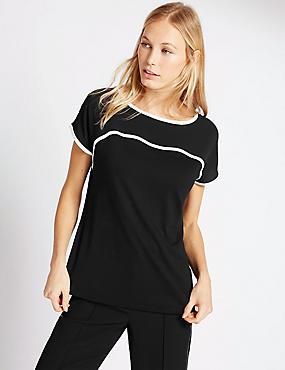 Short Sleeve Tipped Jersey Top, BLACK MIX, catlanding