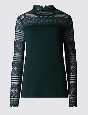 Lace Print Jersey Top, BOTTLE GREEN, catlanding