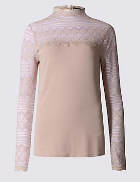 Lace Print Jersey Top, BLUSH PINK, catlanding