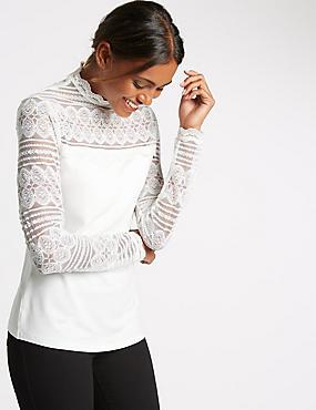Lace Print Jersey Top, IVORY, catlanding