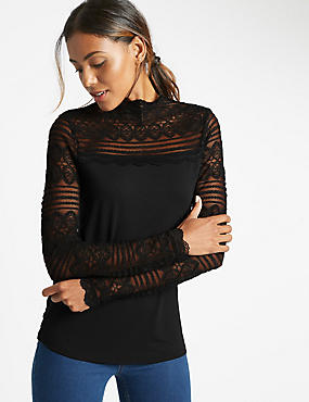 Lace Print Jersey Top, BLACK, catlanding