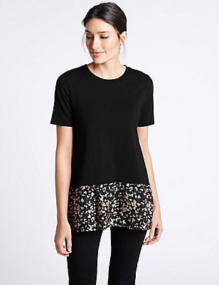 Cotton Rich Printed Short Sleeve T-Shirt, BLACK, catlanding