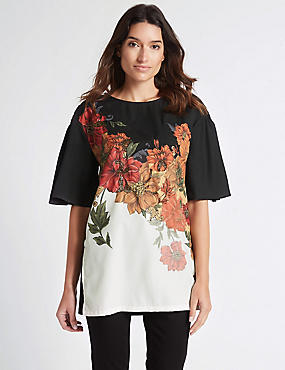 Floral Print Beaded Half Sleeve Tunic, BLACK MIX, catlanding