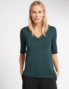 Embellished V-Neck Half Sleeve Jersey Top, DARK BOTTLE, catlanding