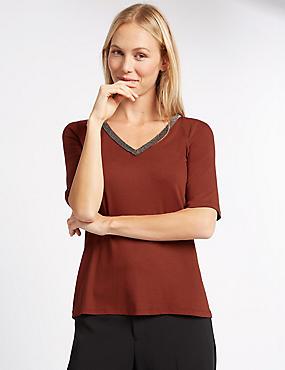 Embellished V-Neck Half Sleeve Jersey Top, CHESTNUT, catlanding