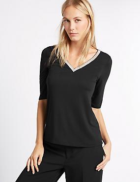 Embellished V-Neck Half Sleeve Jersey Top, BLACK, catlanding