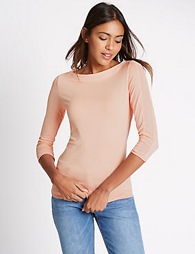 Slash Neck 3/4 Sleeve Jersey Top, BLUSH, catlanding