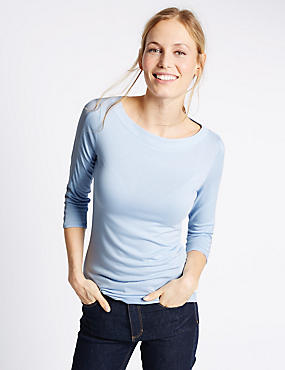 Slash Neck 3/4 Sleeve Jersey Top, FRESH BLUE, catlanding