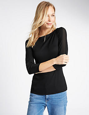 Slash Neck 3/4 Sleeve Jersey Top, BLACK, catlanding