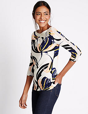 Floral Print 3/4 Sleeve Jersey Top, IVORY MIX, catlanding