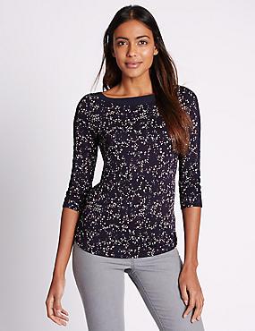 Splodge Print 3/4 Sleeve Jersey Top, NAVY MIX, catlanding
