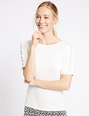 Round Neck Ruffle Sleeve T-Shirt, IVORY, catlanding