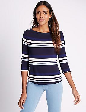 Striped Slash Neck 3/4 Sleeve Jersey Top, NAVY MIX, catlanding