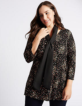PLUS Long Sleeve Disty Tunic with Scarf, BLACK MIX, catlanding