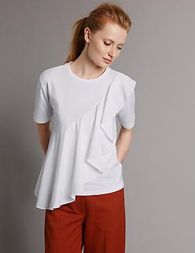 Pure Cotton Ruffle Yoke Jersey Top, SOFT WHITE, catlanding