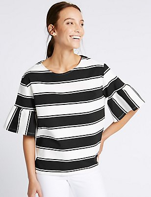 Cotton Rich Striped Flared Sleeve T-Shirt, BLACK MIX, catlanding