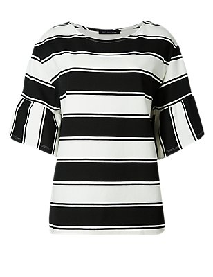 PETITE Striped Flare Sleeve T-Shirt, BLACK MIX, catlanding