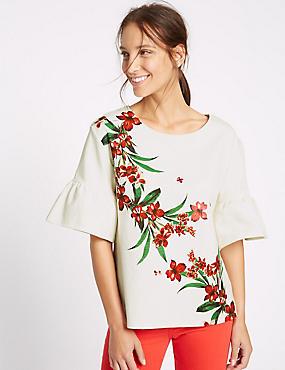 Cotton Rich Flared Sleeve T-Shirt, IVORY MIX, catlanding
