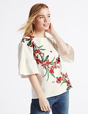 PETITE Floral Print Frill Sleeve T-Shirt, IVORY MIX, catlanding