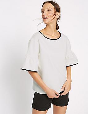Cotton Rich Flared Sleeve T-Shirt, IVORY, catlanding