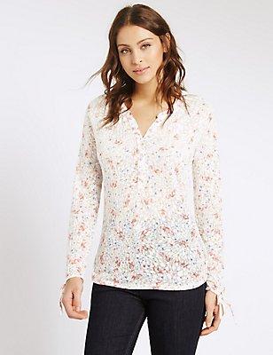 Floral Print Notch Neck Long Sleeve T-Shirt, NAVY MIX, catlanding