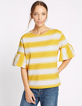 Cotton Rich Striped Flared Sleeve T-Shirt, YELLOW MIX, catlanding