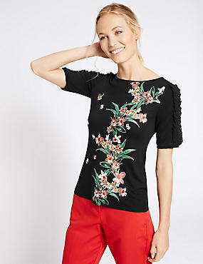 Floral Print Ruffle Sleeve T-Shirt, BLACK MIX, catlanding