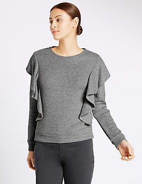 Ruffle Long Sleeve Sweatshirt, GREY, catlanding