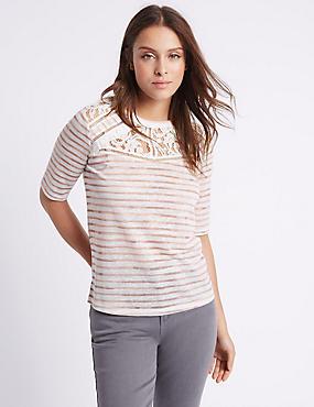Striped Half Sleeve T-Shirt, STONE MIX, catlanding