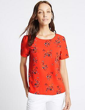 Ditsy Print Short Sleeve T-Shirt, RED MIX, catlanding