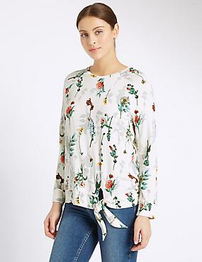 Raglan Floral Print Long Sleeve T-Shirt, IVORY MIX, catlanding