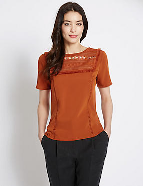 Lace Short Sleeve Jersey Top, BURNISHED COPPER, catlanding