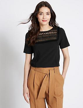 Lace Short Sleeve Jersey Top, BLACK, catlanding