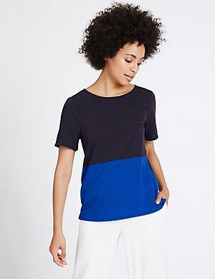 Colour Block Short Sleeve T-Shirt, COBALT, catlanding