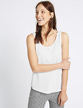 Round Neck Relaxed Vest Top, WHITE, catlanding