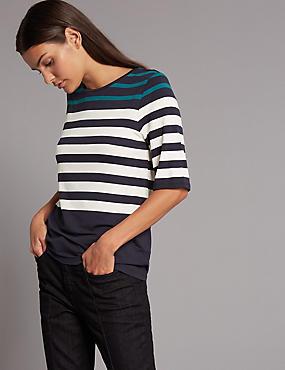 Colour Block Striped Half Sleeve T-Shirt, TEAL MIX, catlanding