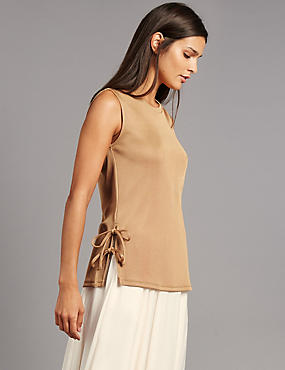 Tie Side Round Neck Vest Top, TAN, catlanding